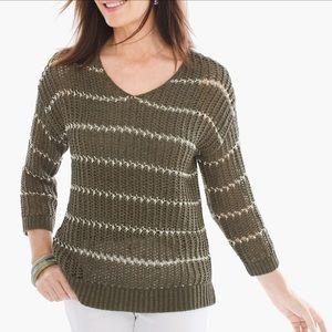 Chicos Shine Stripe Charlotte Pullover Sweater